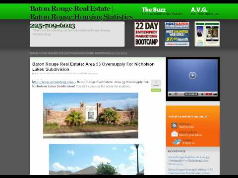 Baton Rouge Real Estate Area 53 Nicholson Lakes Oversupply